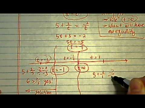 Rational Inequality: solve for t if 5+3/ t greater than (-2) / t