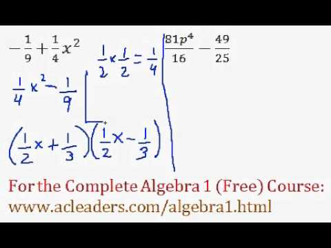 Polynomials - Difference of Two Squares Questions #9-10
