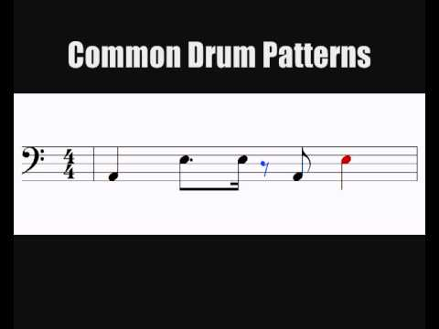 Reading Notation - 4 Common Drum Patterns on a Bass Clef