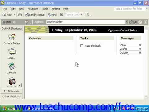 Outlook 2003 Tutorial The Outlook Environment XP & 2000 Microsoft Training Lesson 1.2