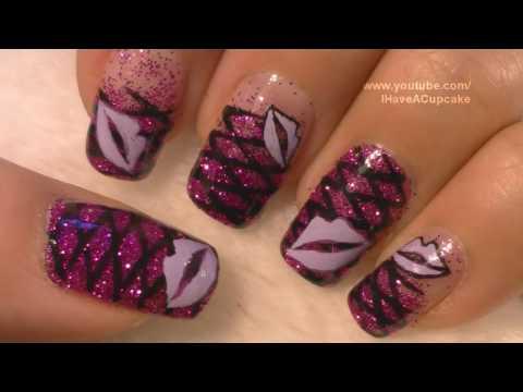 Purple Lips Nail Art Tutorial / Labios Morados Arte para las unas