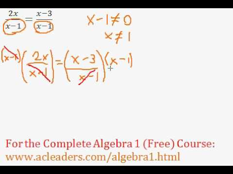 Rational Expressions - Solving an Equation #1