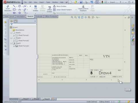 solidworks 2009 tutorial  Title Block Drawing