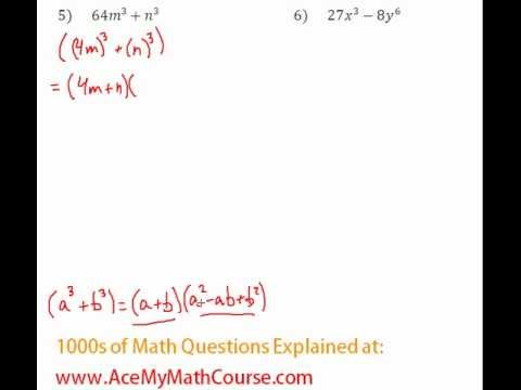 Polynomials - Factoring Two Cubes Question #5