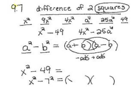 whs 9.7a factoring difference of squares