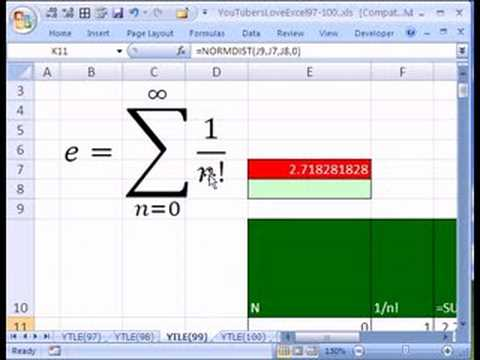 YTLE#99: The Number e in Excel