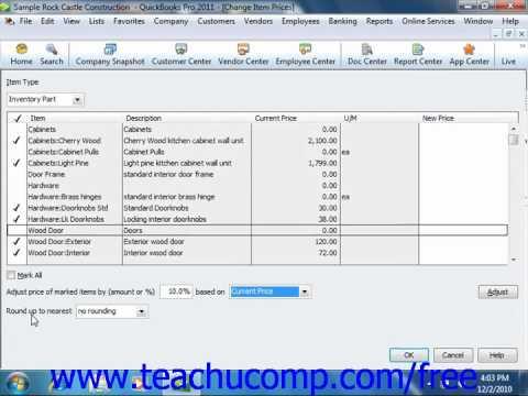 QuickBooks 2011 Tutorial Changing Item Prices Intuit Training Lesson 6.8
