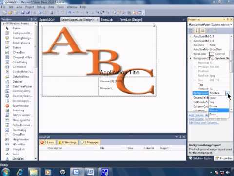 Visual Basic 2010 Express Tutorial 23 - Inserting A SplashScreen - SpeakABCs 7/11