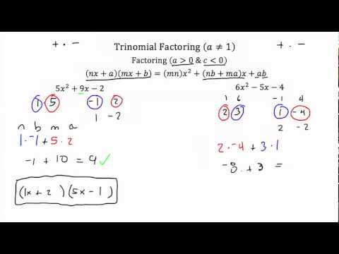 Trinomial Factoring (a≠1) PT 2- Textbook Tactics