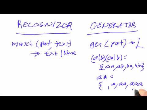 Recognizers and generators - CS212 Unit 3 - Udacity