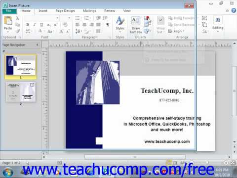 Publisher 2010 Tutorial Inserting Clip Art and Pictures Microsoft Training Lesson 3.4