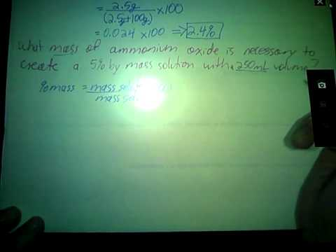 Solutions Pt III: Percent mass, Percent Volume, Mole Fraction