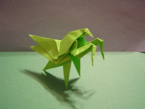 Origami Daily - 192: Praying Mantis (Modular Origami)  - TCGames [HD]