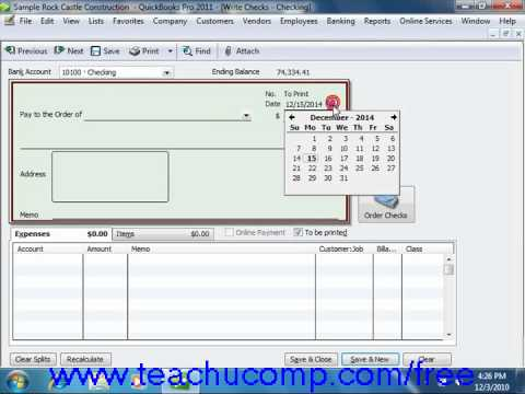 QuickBooks 2011 Tutorial Writing Checks Intuit Training Lesson 13.2
