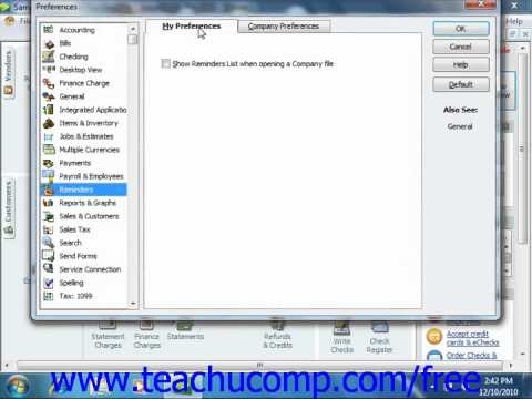 QuickBooks 2011 Tutorial Using Reminders and Setting Preferences Intuit Training Lesson 25.4
