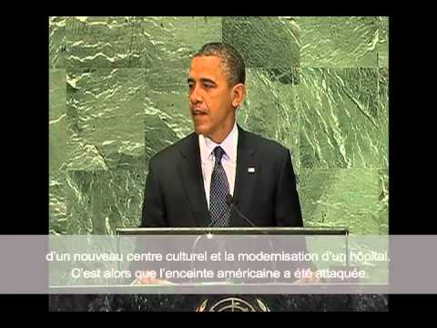 Obama Address at U.N. : Chris Stevens Was a Friend to All Libyans with French Subtitles