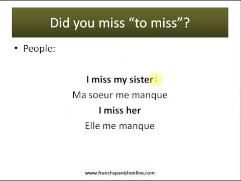 verb to miss in French
