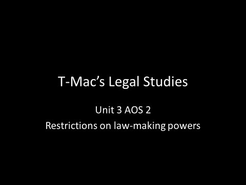 VCE Legal Studies - Unit 3 AOS2A - Constitution - Restrictions on law-making powers