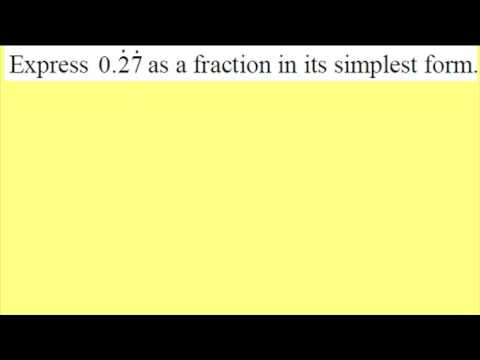Recurring decimals to fractions part 1 of 2