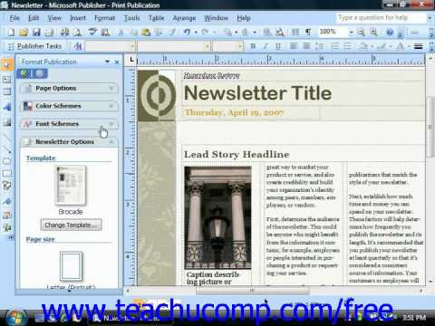 Publisher 2003 Tutorial Inserting Page Numbers Microsoft Training Lesson 13.4