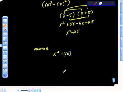 Quadratic Equations Factoring Difference of Squares