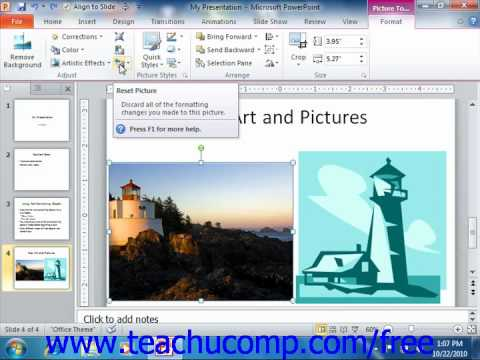 PowerPoint 2010 Tutorial Using Picture Tools 2010 Only Microsoft Training Lesson 5.3