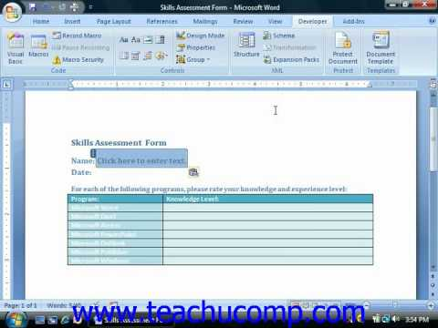 Word Tutorial Creating a Form Template Microsoft Training Lesson 21.2