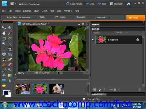 Photoshop Elements 9.0 Tutorial Cropping Images Adobe Training Lesson 13.3