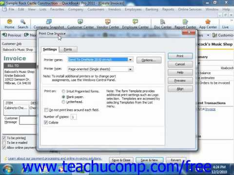 QuickBooks 2011 Tutorial Printing Sales Forms Intuit Training Lesson 7.6