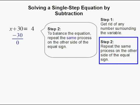 Solving a Single-Step Equation by Subtraction