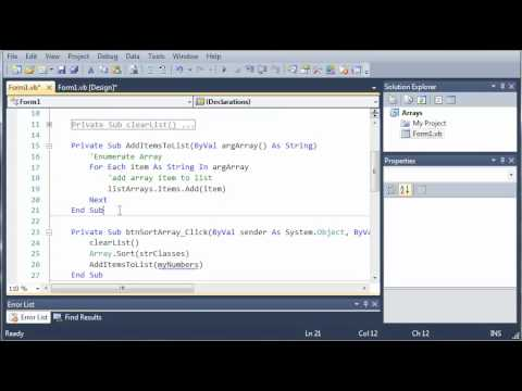 Visual Basic Tutorial - 63 - Initialize Arrays With Values