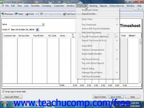 QuickBooks 2011 Tutorial Time Tracking Intuit Training Lesson 19.1