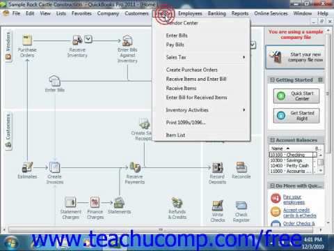 QuickBooks 2011 Tutorial Applying a Vendor Credit Intuit Training Lesson 12.6