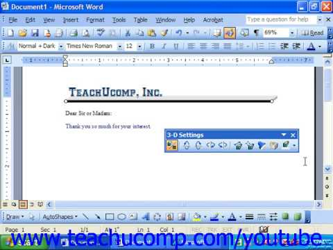 Word 2003 Tutorial Applying 3D Effects Microsoft Training Lesson 14.9