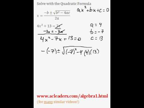 Quadratic Formula - Solving for 'x' in a trinomial expression. EASY!!! (pt. 8)