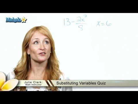 Substituting Variables Quiz