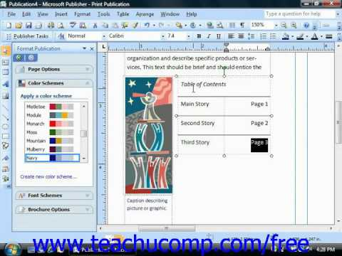 Publisher 2003 Tutorial Inserting Text into Tables Microsoft Training Lesson 8.2