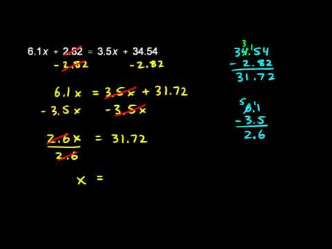 Prealgebra 5.6b - Decimal Equation Example (1)