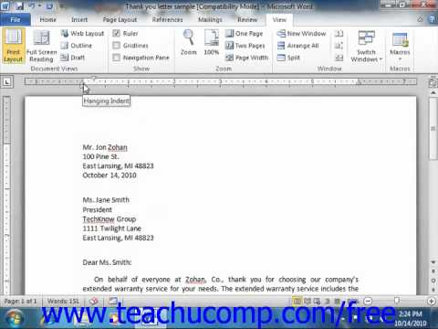 Word 2010 Tutorial Indenting Paragraphs Microsoft Training Lesson 6.2
