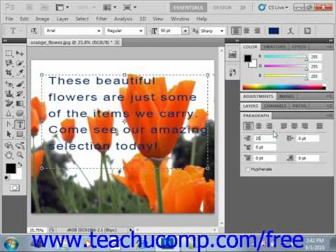 Photoshop CS5 Tutorial Using the Paragraph Panel Adobe Training Lesson 11.9