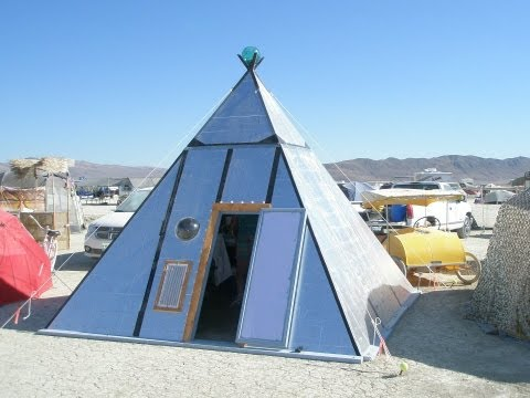 Paul Elkins hexayurt style foam board pyramid shelter for burningman