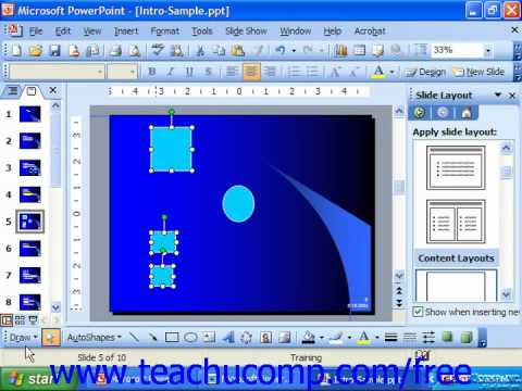 PowerPoint 2003 Tutorial Aligning & Distributing Objects Microsoft Training Lesson 20.3