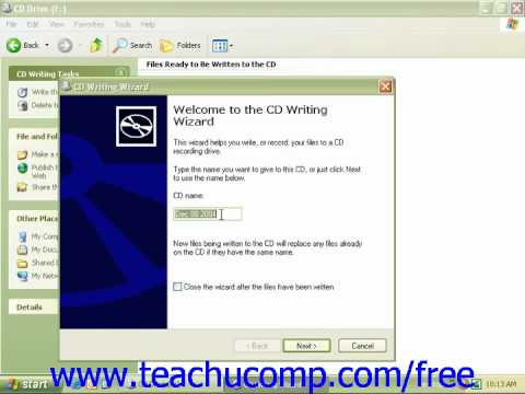 Windows XP Tutorial Saving Files to CD Microsoft Training Lesson 6.14
