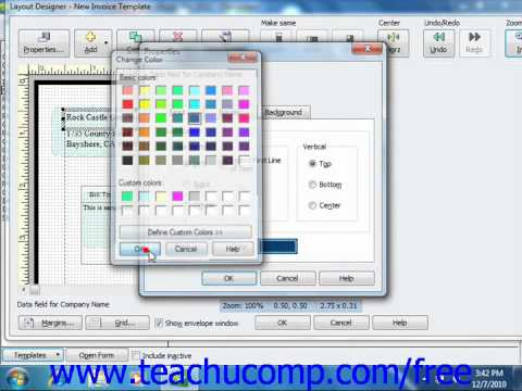 QuickBooks 2011 Tutorial Using the Layout Designer Intuit Training Lesson 17.4