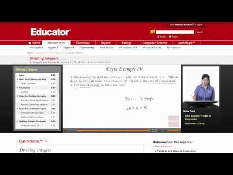 Pre Algebra: Dividing Integers