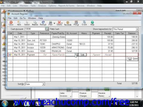 Peachtree Tutorial Using the Cash Account Register Sage Training Lesson 3.9