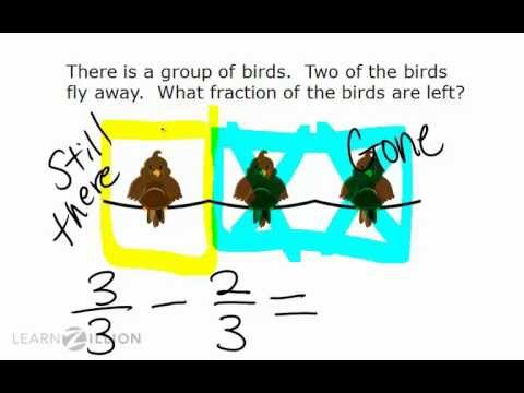 Subtract fractions with like denominators by labeling sets - 4.NF.3