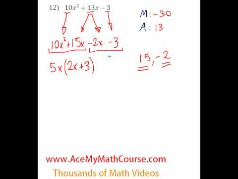 Polynomials - Factoring Trinomials (More Challenging) #12