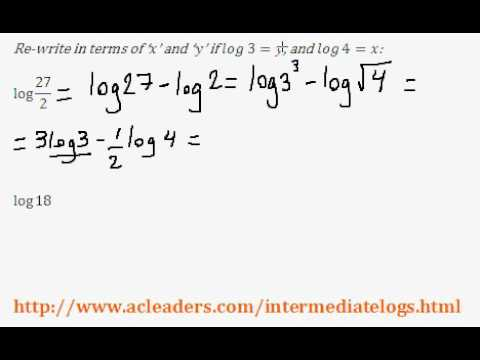 Re-writing expressions with Logarithms - (intermediate log questions pt. 5 of 6)