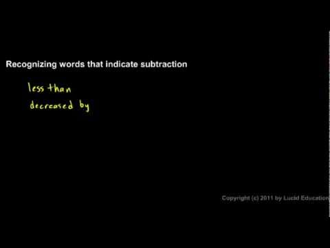 Prealgebra 1.3b - Words that Indicate Subtraction